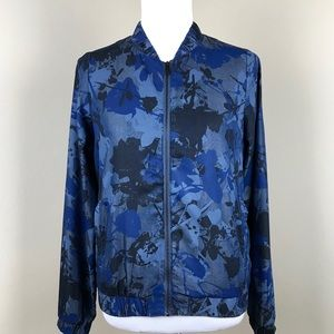 Juicy Couture Blue Floral Graphic Zipper Jacket